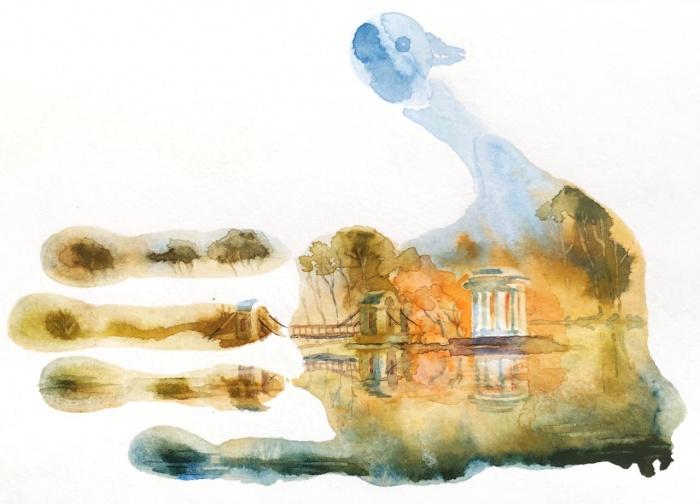 Художница изобразила Харитоновский парк
