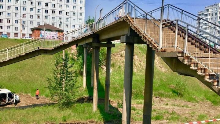 На два дня в «Солнечном» закрывают пешеходный аварийный мост ради ремонта