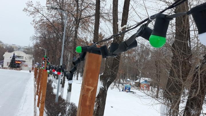 Самарцы украли лампочки с новогодних гирлянд в парке Дружбы