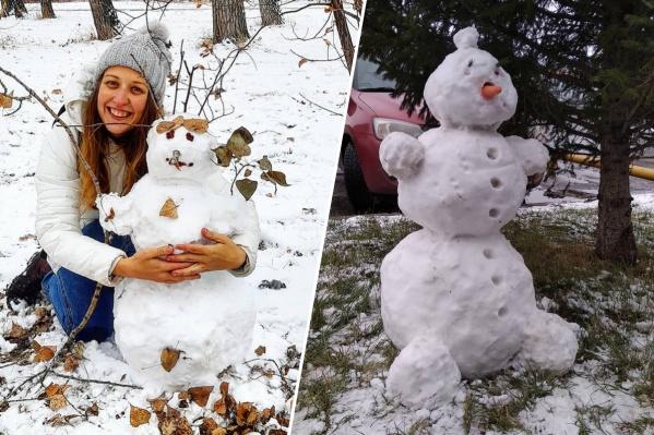 В выходные снега выпало столько, что красноярцы легко смогли слепить больших снеговиков