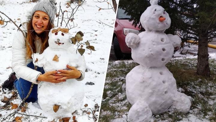 Красноярцы налепили милых снеговиков в первые снежные выходные: любуемся фотоподборкой