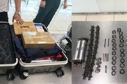В чемодане мужчины лежали почти 15 килограммов свёрл, подшипников и многое другое