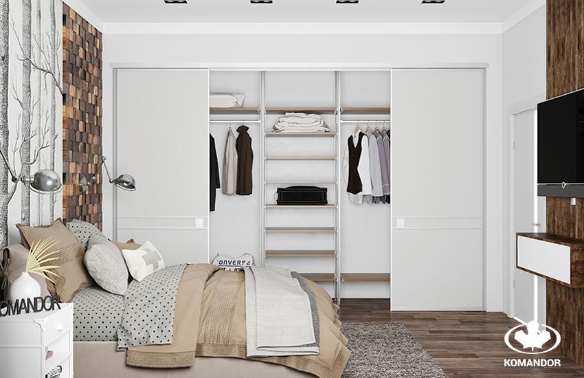 Комната в скандинавском стиле со встроенной гардеробной