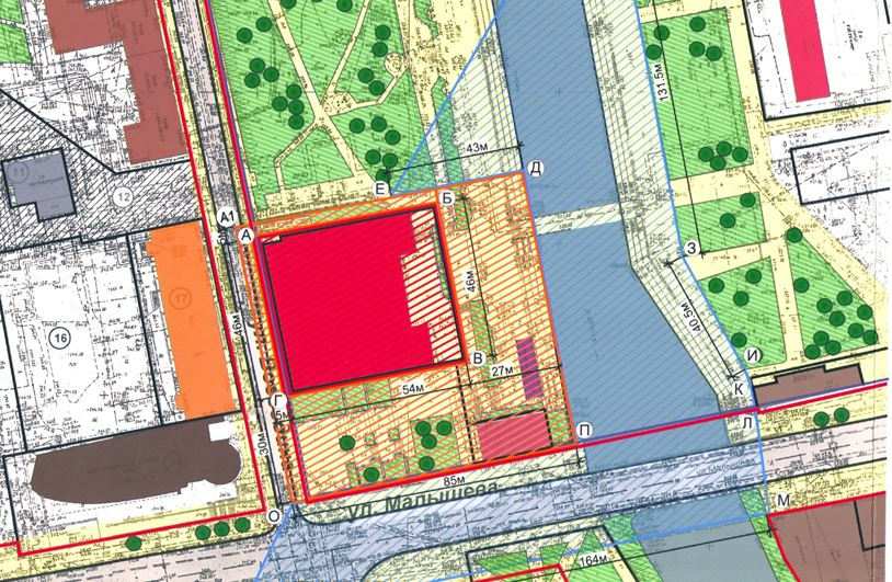 Проект 2013 года. Оранжевым отмечена охранная зона, которая изменится, после того как утвердят границы территории