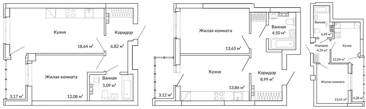 Функциональная планировка квартиры-полуторки закрывает сразу несколько возможных сценариев жизни семей разного типа. Классика — вариант для тех, кто предпочитает отдельную кухню