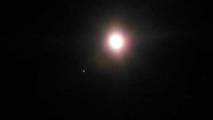 """""""Луны с Юпитером свиданье"""": этой ночью спутник Земли и крупнейшая планета оказались соседями на небосводе"""