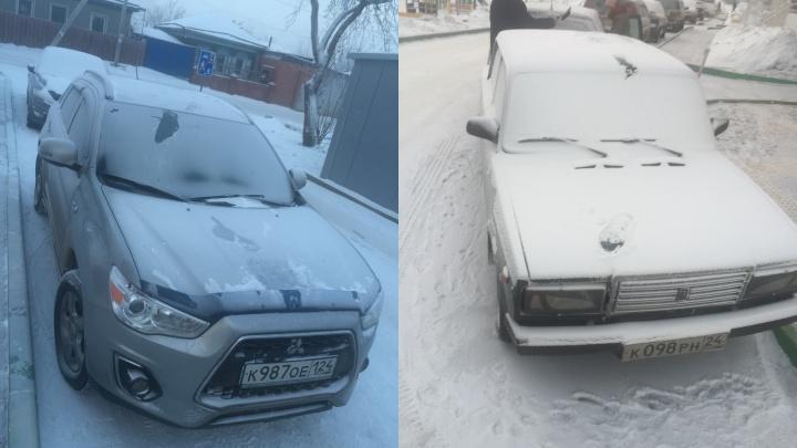 Варвары устроили дикий забег по крышам авто на правобережье Красноярска