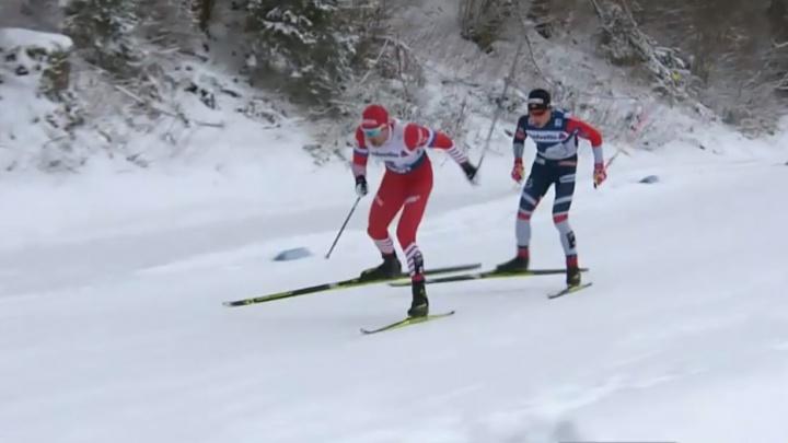 Уральский лыжник отстал от норвежца на 0,4 секунды и завоевал серебро на этапе «Тур де Ски»