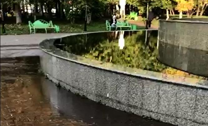 Фонтан в «Берёзовой роще» затопил парк