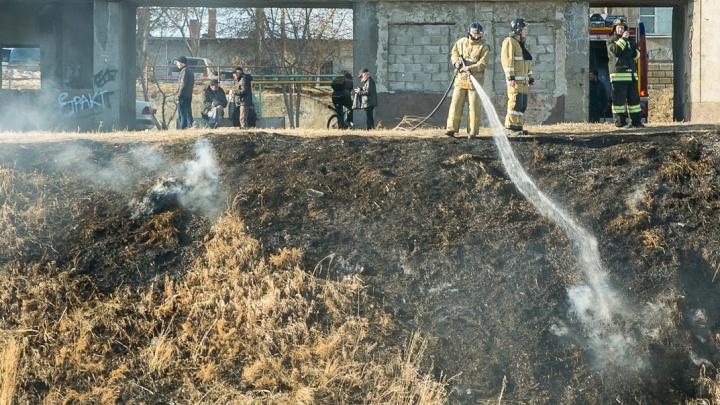 За минувшие сутки пожарные семь раз выезжали тушить горящие пустыри с травой