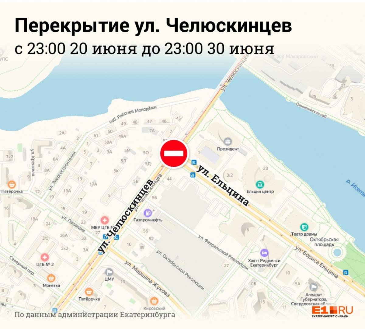 Перекресток Ельцина — Челюскинцев закроют для движения автомобилей