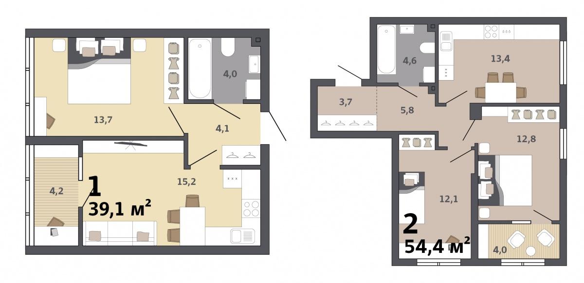 За счет функциональной кухни-гостиной жильцы каждой квартиры, по сути, получат дополнительную комнату