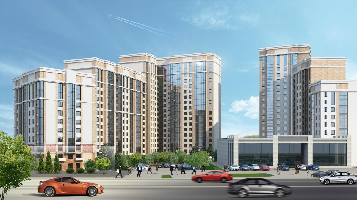 В комплексе будет два дома переменной этажности — вместе они образуют полукольцо