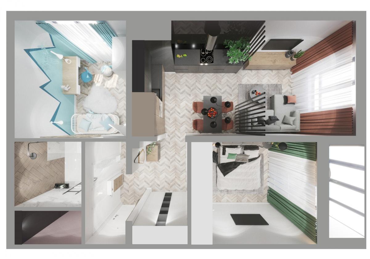 Проект квартиры в ЖК «Восход». Больше всего работы было с кухней — на большом пространстве дизайнер разместил несколько зон