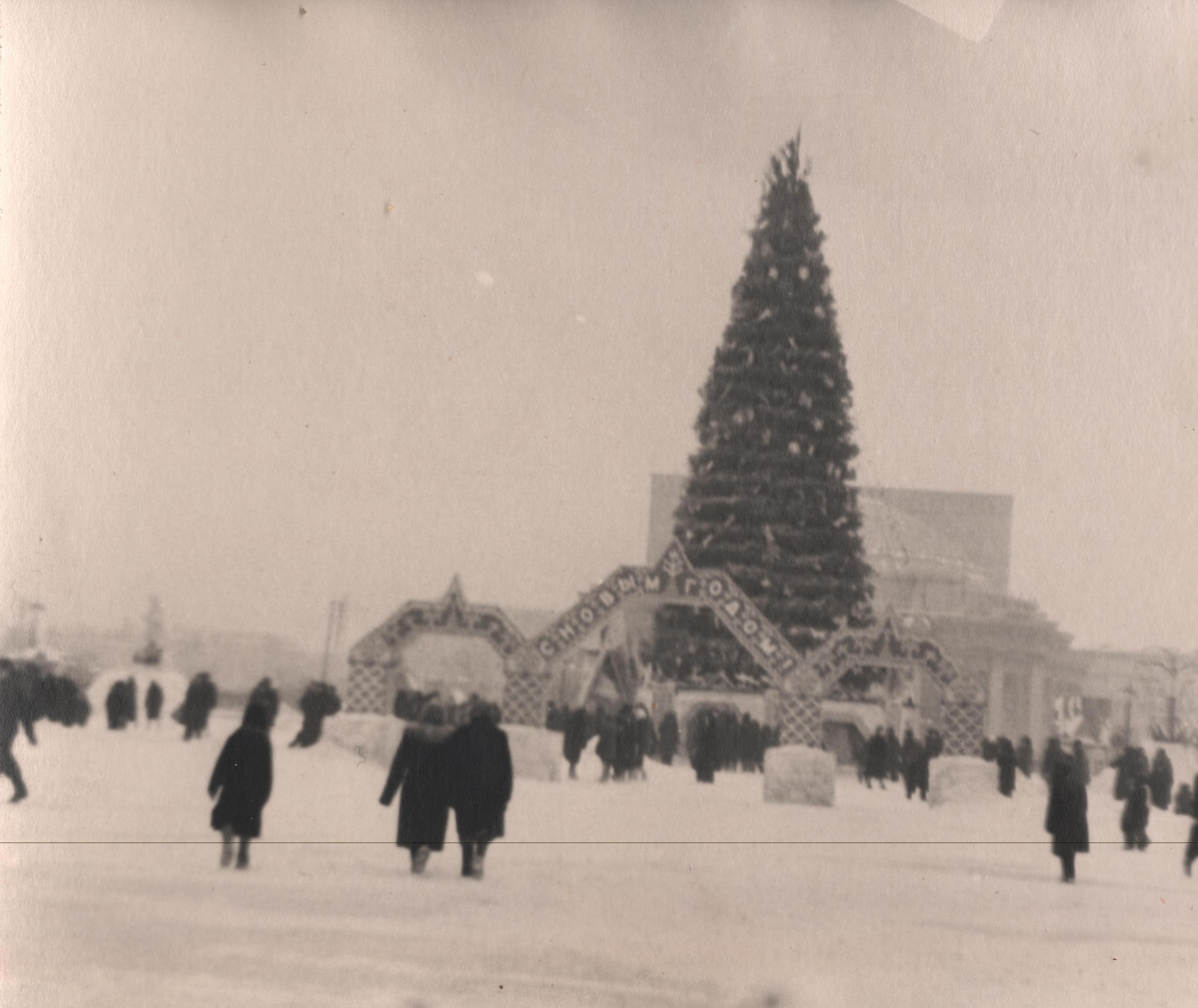 Одна из первых ёлок на площади Ленина в 50-х