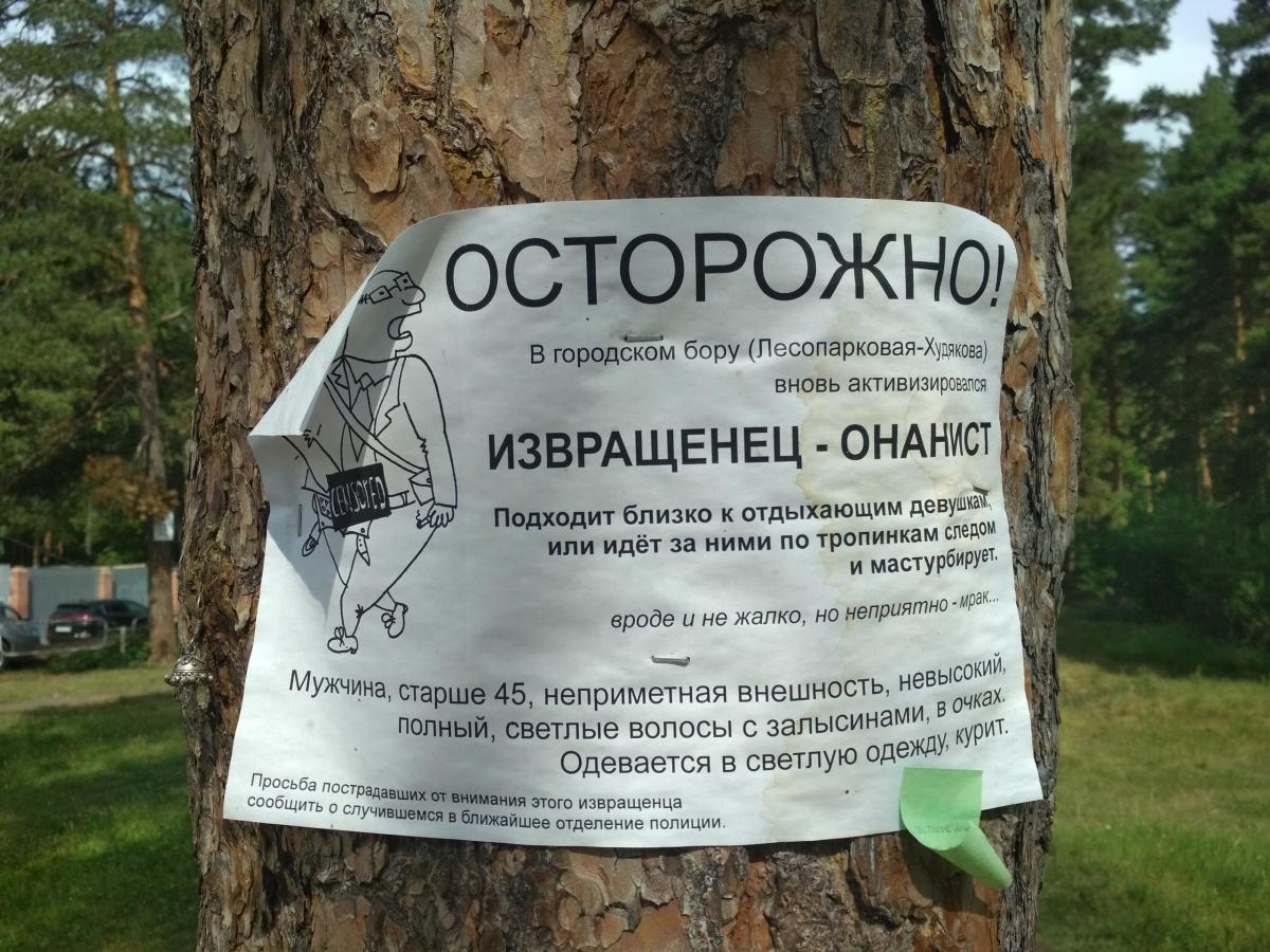 Такие объявления расклеены по всей лесопарковой зоне