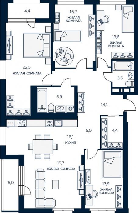 Два санузла, два балкона, гигантская кухня-столовая, которая объединена с не менее просторной гостиной,— шикарный вариант для большой семьи