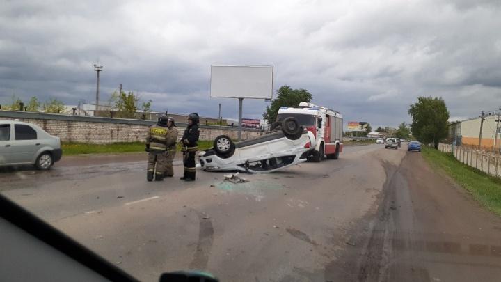 Вот это кульбиты: в Башкирии иномарка после ДТП опрокинулась на крышу