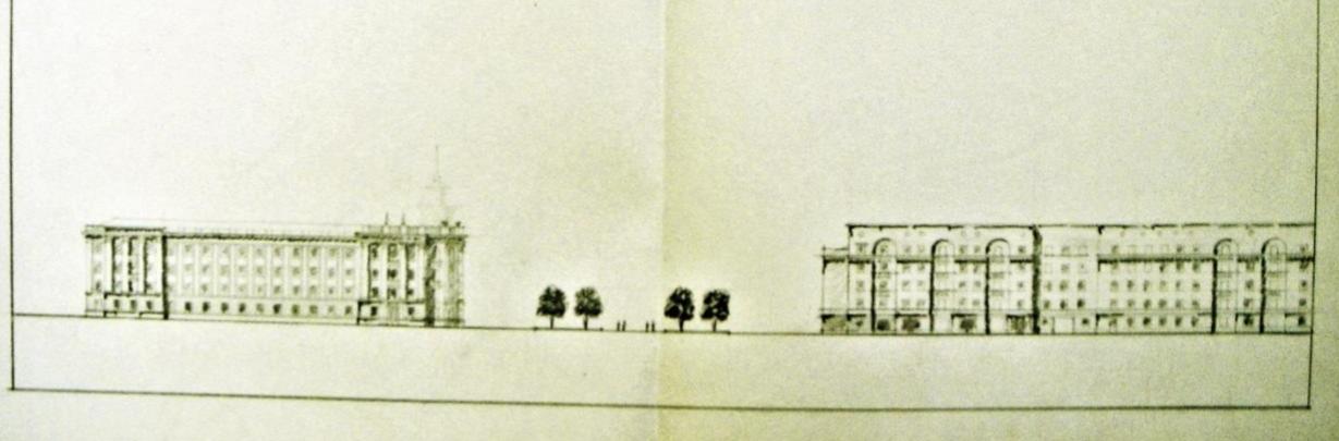 Чертёж проекта здания на проспекте Ленина