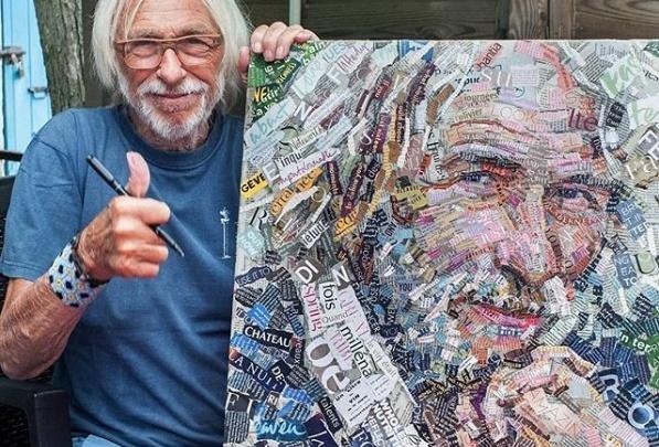 «Остался доволен»: волгоградский художник подарил Пьеру Ришару картину из обрывков журналов
