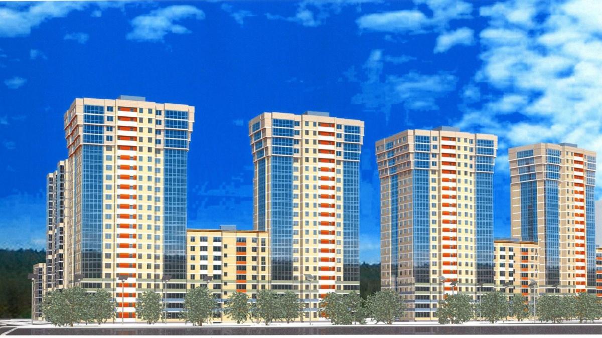 А это эскиз ЖК «Радость»: на продолжение Краснолесья будут выходить фасады 4 «свечек» аналогичной этажности, не считая домов в глубине квартала