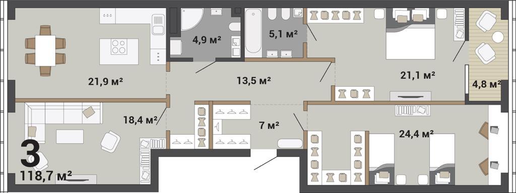 В трехкомнатных кухню можно отделить от гостиной и оборудовать несколько гардеробных