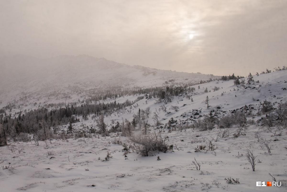 Через несколько минут горы скроются в пурге