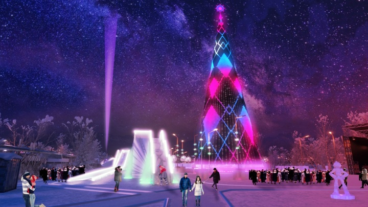 Чиновники показали, как будет выглядеть самая высокая новогодняя ёлка на Татышеве