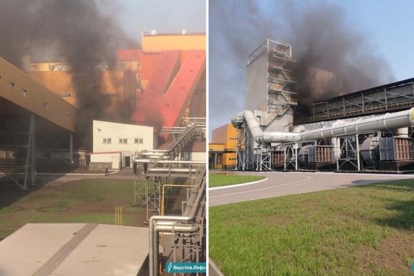 Чёрный дым на новом производстве ММК заметили сегодня утром