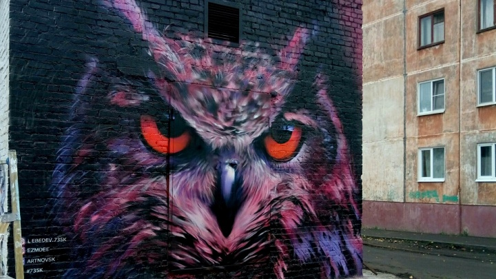 «Рисовали в холоде и дожде»: на трансформаторной подстанции в Новодвинске появилась граффити-сова