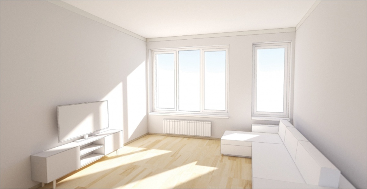 Окна в квартирах «Татлина» с низкими подоконниками, они будут чередоваться по фасаду дома от классических двух-, трёхстворчатых до глухих однорамных