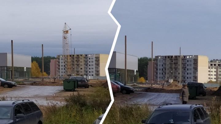 «Падал и зацепил дом»: в Ярославле на стройке обрушился башенный кран