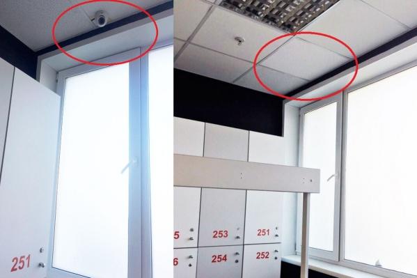 Несколько дней назад камеры в женской раздевалке сфотографировала посетительница (фото слева). Сегодня их уже нет (фото справа)