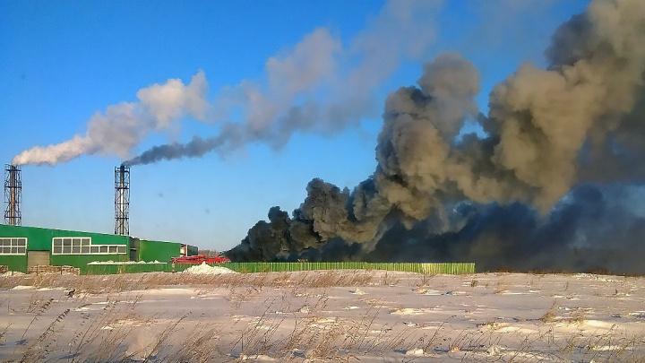Чёрный дым до небес: на заводе под Новосибирском случился крупный пожар