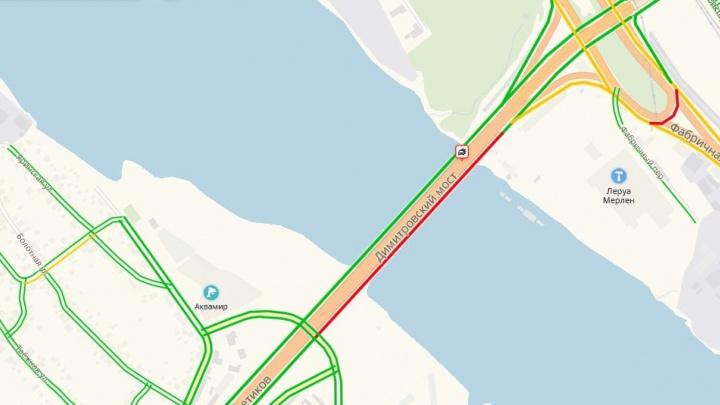 Массовое ДТП на Димитровском мосту: собралась пробка