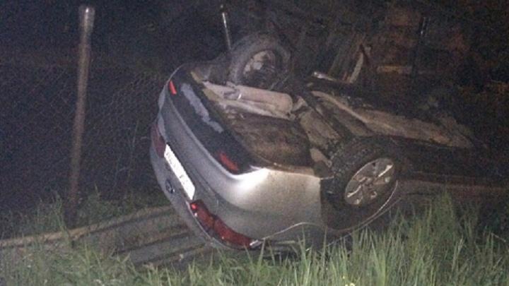 В Уфе водитель KIA попал в ДТП: машина перевернулась