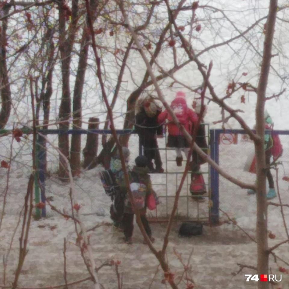 Школьники выстраиваются в колонну и перелезают через забор