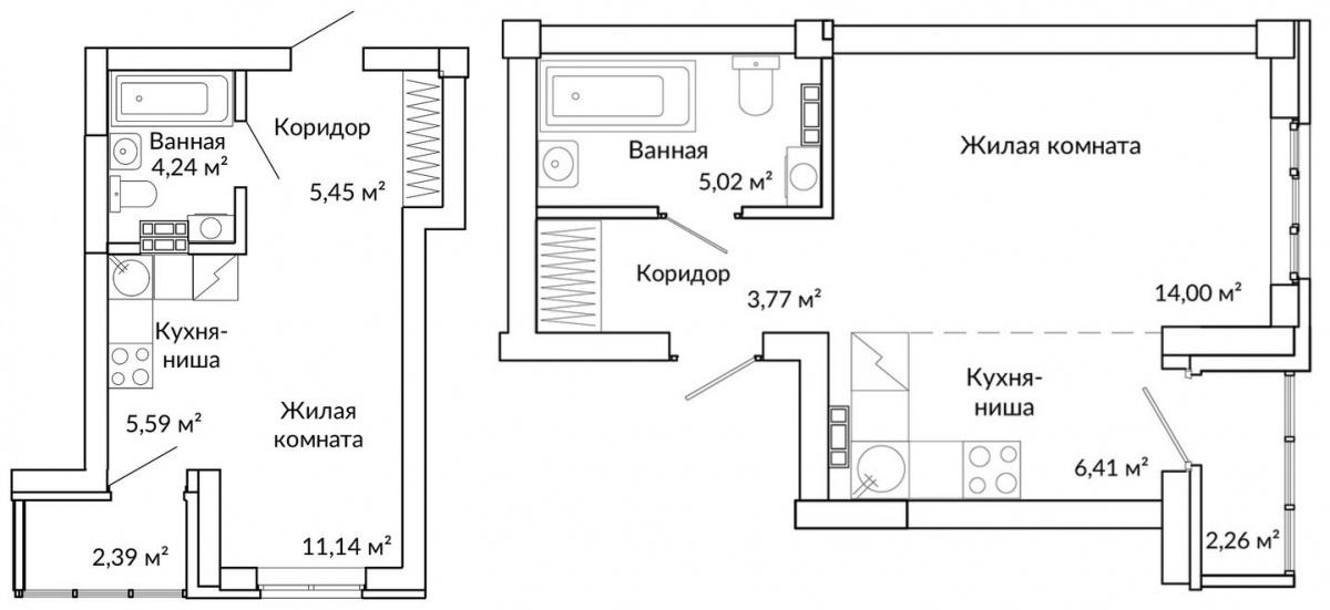 Одна из самых удачных планировок студий с двумя окнами