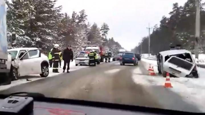 Под Дзержинском женщина на иномарке устроила массовое ДТП