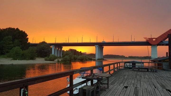 Оранжевое небо:на Новосибирск спустился красивый закат