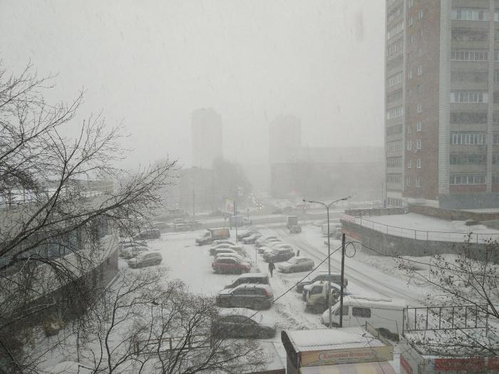 Город окутала плотная пелена снега