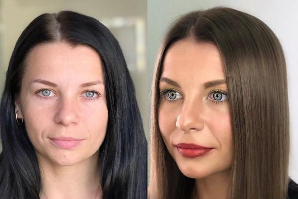 Таинственный черный или натуральный русый? С каким цветом волос эта девушка нравится вам больше? Пишите в комментариях