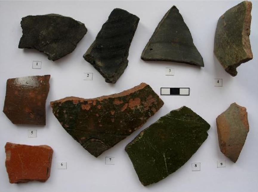 Найденные фрагменты керамических сосудов