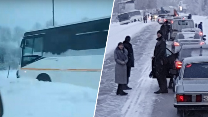 На скользкой трассе под Енисейском с трассы слетел пассажирский автобус из Красноярска