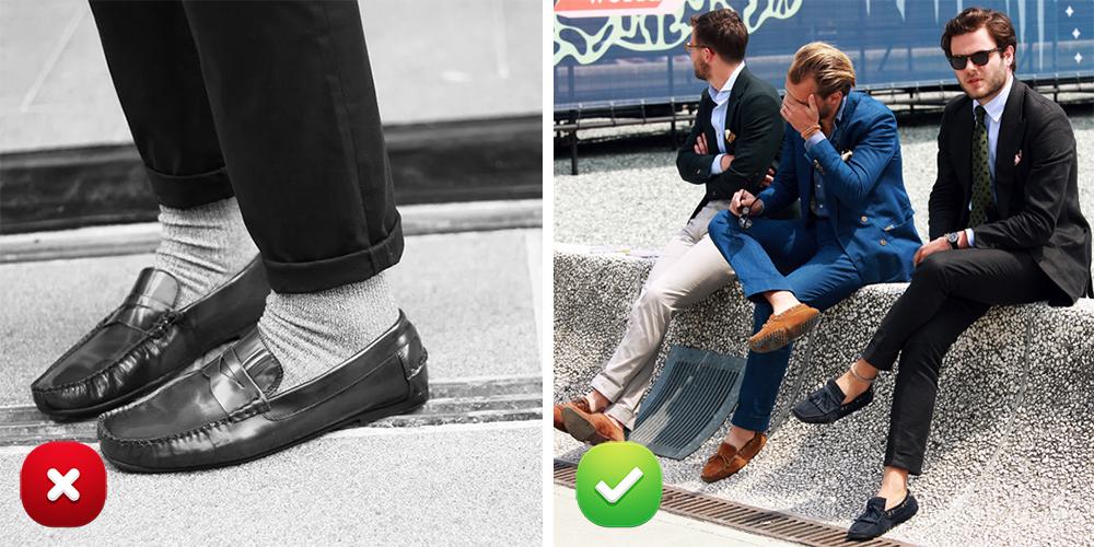 По мнению эксперта, мокасины — это летняя обувь, которая, во-первых, предполагает теплое время года, во-вторых, надевается исключительно на босую ногу, а не на носки