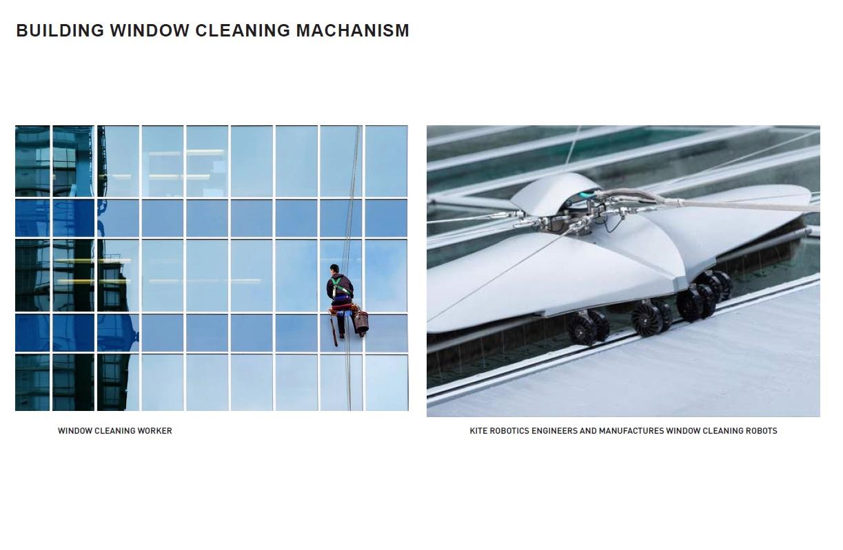 Проектировщики учли, что мастерам придется чистить стеклянные фасады и запланировали специальные приспособления