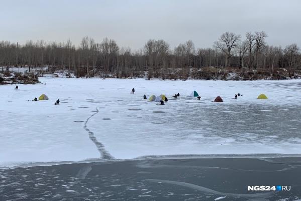 Крепкий с виду лед только у противоположного берега. Со стороны Белых Рос большая полынья