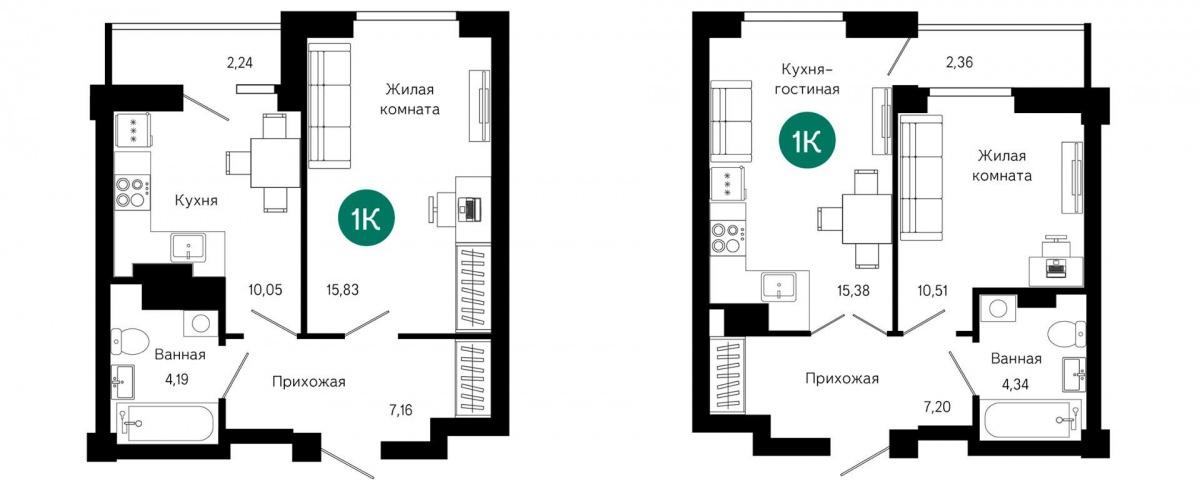 Площадь однокомнатных квартир начинается от 38 кв. м. Кухни в них — почти 16 кв. м.