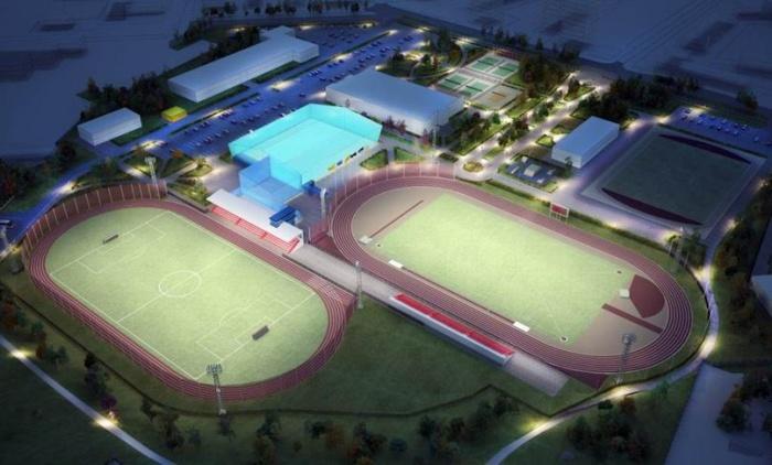 Слева на эскизе — готовый футбольный стадион, справа — будущий легкоатлетический