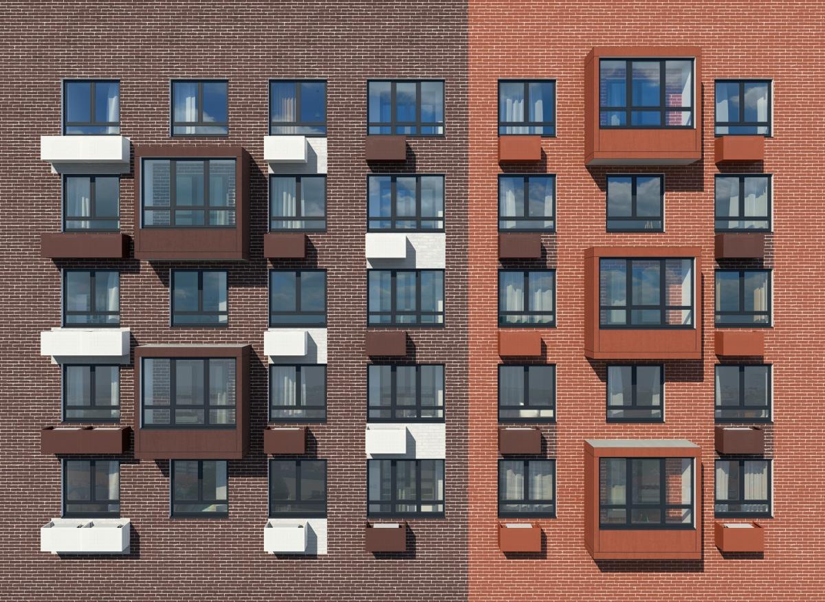 Фасады выполнены по специальной технологии, что делает их долговечными. Корзины для кондиционеров не нарушают привлекательный вид дома